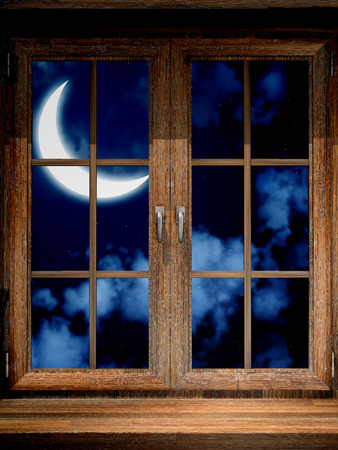 Wooden window and moon 写真素材