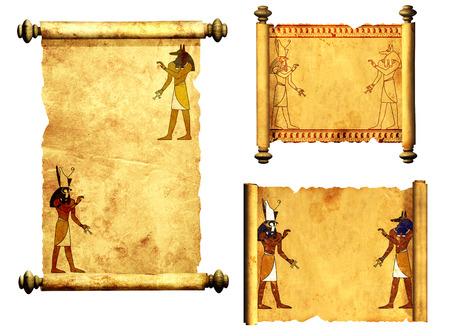 horus: Colecci�n de pergaminos con im�genes de dioses egipcios - Anubis y Horus. Objeto aislado en el fondo blanco Foto de archivo