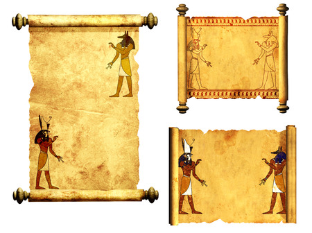 egypt anubis: Collection of scrolls with Egyptian gods images - Anubis and Horus. Object isolated on white background