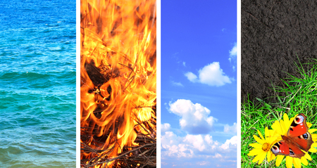 vertical banner: Collection of banner with nature elements - water; ground; air and fire