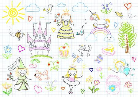 Vector sketches met gelukkig weinig prinsessen en fee. Schets op laptop pagina Stock Illustratie