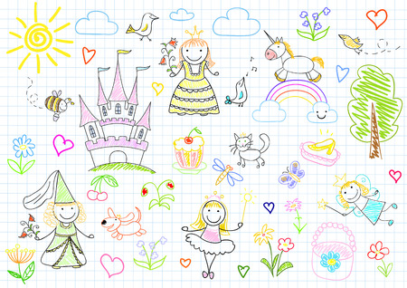 dress sketch: Vector sketches with happy little princesses and fairy. Sketch on notebook page