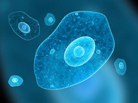 Amoebe op een blauwe achtergrond. 3d render