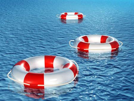 floatation: Three 3d lifebuoys, floating on waves