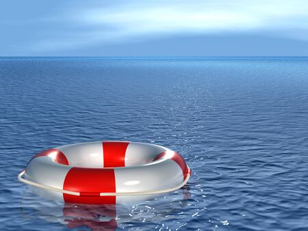 floatation: Lifebuoy, floating on waves Stock Photo