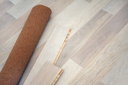 flooring cork: New oak parquet and soundproof cork substrate