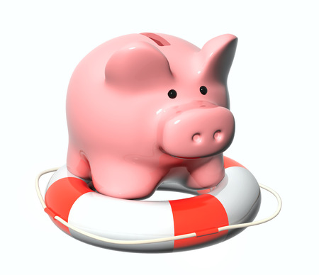 bankroll: Piggy bank and lifebuoy. Objects isolated on white background Stock Photo