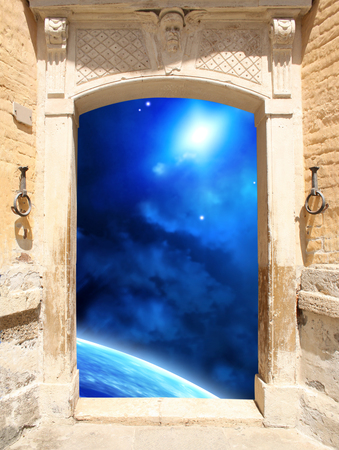 homecoming: Frame with ancient door and space scene