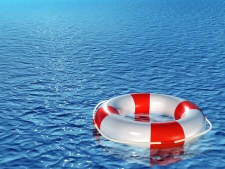 Lifebuoy, floating on waves Stock Photo