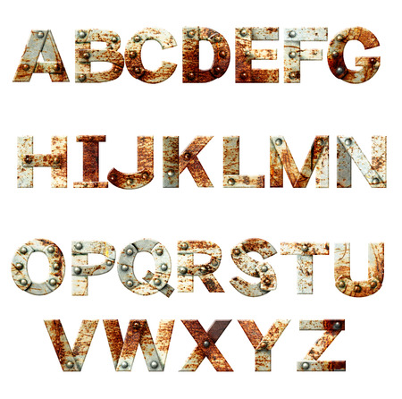 typesetter: Alphabet - letters from rusty metal with rivets. Isolated on white background