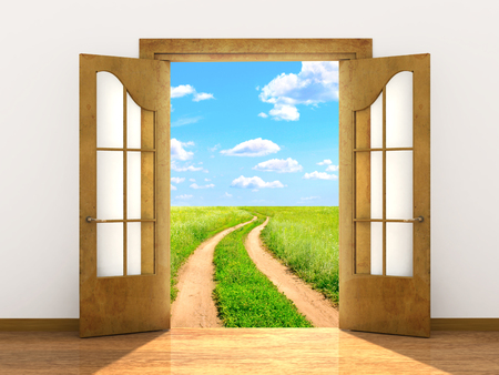 abriendo puerta: Imagen conceptual - un camino a la libertad