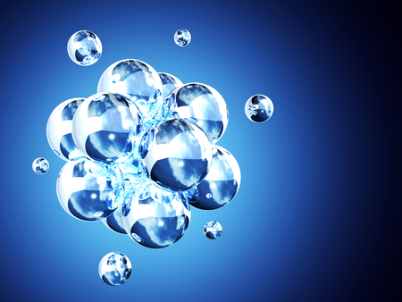 whitem: Abstract molecular structure. On blue background Stock Photo