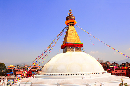 bodnath: Bodnath stupa with Buddha eyes and prayer flags in Kathmandu, Nepal