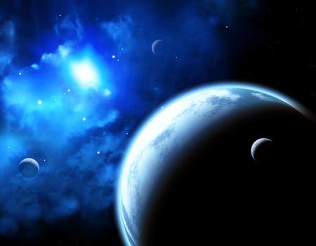interplanetary: A beautiful space scene with planets and nebula.