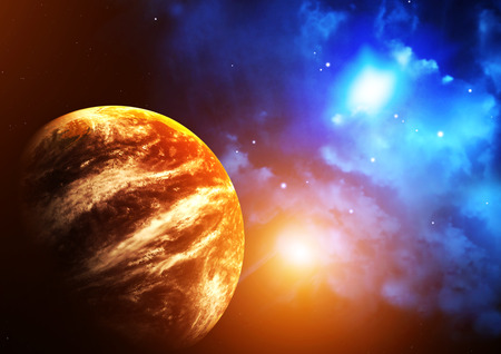 interplanetary: A beautiful space scene with planet and nebula. Elements of this image furnished by NASA Stock Photo
