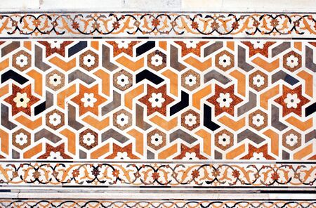 mosaic floor: Ancient decorative mosaic on marble, India Stock Photo