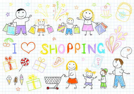 retail: A happy family on shopping. Sketch on notebook page