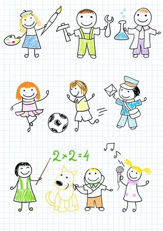 child and dog: Happy childrens in work wear. Sketch on notebook page