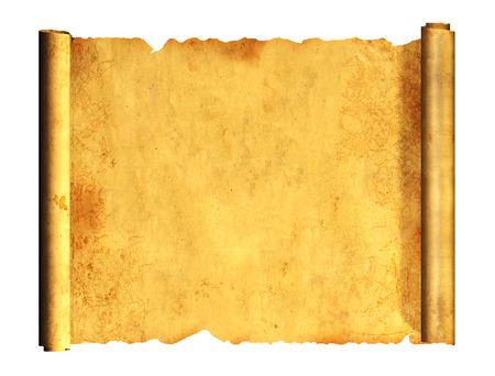 옛날의 양피지를 스크롤합니다. 흰색 배경에 고립 된 개체