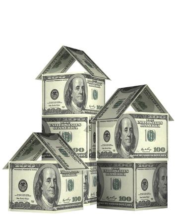 haushaltshilfe: Drei H�user von Dollar-Banknoten. Isoliert auf wei�em Hintergrund