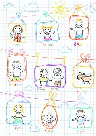 lineage: Portraits of happy family. Vector sketch on notebook page