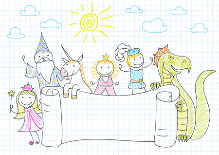 bewitched: Vector banner with characters of fairy-tales. Sketch on notebook page