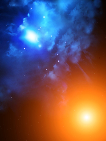 interplanetary: A beautiful space scene with sun and nebula of blue color
