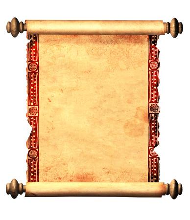 Rol van oud perkament met decoratieve ornament. Object op een witte achtergrond Stockfoto