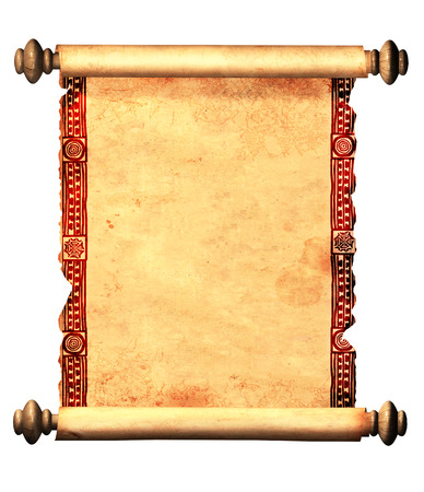 Scroll of old parchment with decorative ornament. Object isolated on white background