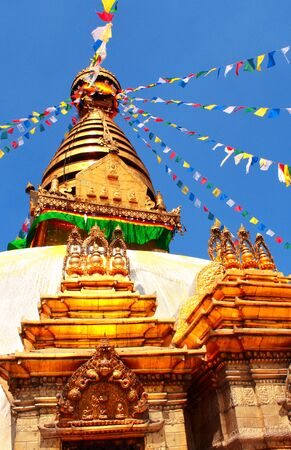 kathmandu: Stupa and prayer flags in Swayambhunath, Kathmandu, Nepal