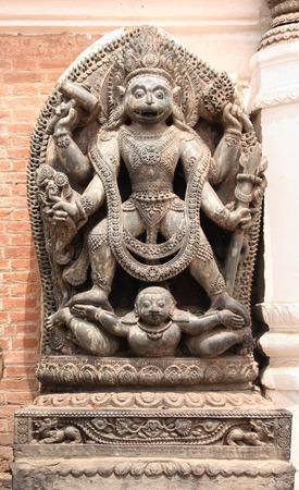 vishnu: Ancient stone statue of Narasimha, Lion-headed God, an avatar of Vishnu, in Bhaktapur, Kathmandu valley, Nepal. UNESCO World Heritage