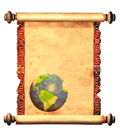 old world: Scroll of old parchment with decorative ornament and with printed abstract world map. Object isolated on white background