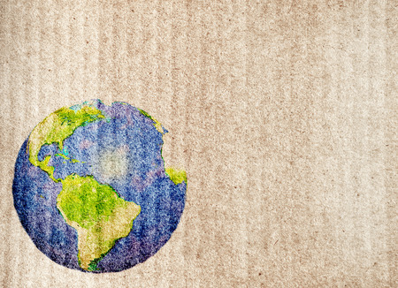ecological: Grunge background with abstract world map printed on paper texture Stock Photo