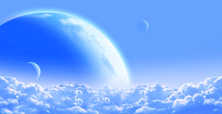 interplanetary: Fantastic sky with cloud and planets