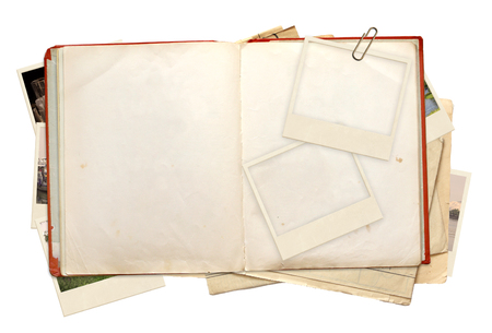open diary: Old book and photos. Objects isolated on white background