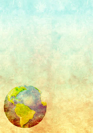 packing material: Grunge background with abstract world map printed on paper texture Stock Photo