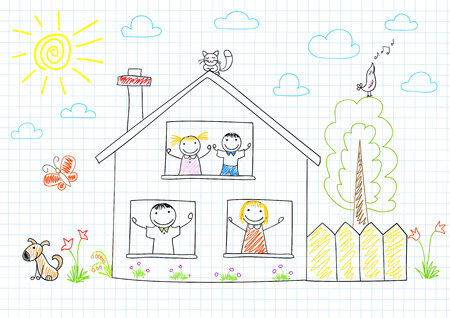 notebook page: Happy family in new house. Sketch on notebook page Illustration