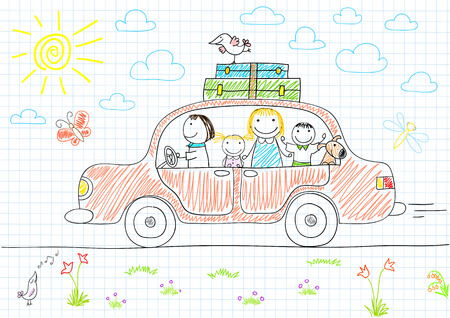 papa: Happy family - mom, dad and two children in car. Sketch on notebook page