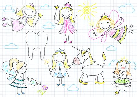 niños dibujando: Colección de vector de feliz pequeñas hadas. Boceto en la página portátil