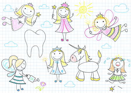 smiles teeth: Vector collection of happy little fairies. Sketch on notebook page Illustration