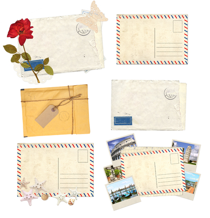envelope decoration: Collection of old envelopes with label, retro postcards for scrapbooking design. Isolated on white background Stock Photo