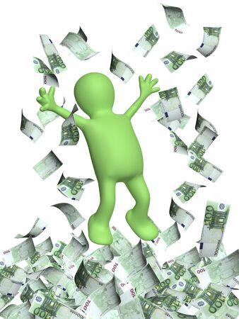 dinero euros: Feliz saltando Hombre 3d y una lluvia de dinero con billetes en euros. Aislado en blanco backgorund