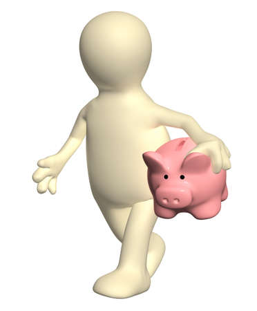 3d puppet: 3d puppet walking with piggy bank. Isolated no white background
