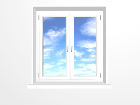 white window: Closed window and clouds on blue sky. Isolated on white background Stock Photo