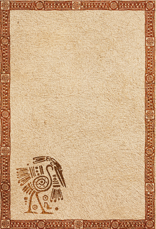 stucco texture: Background with American Indian traditional patterns and stucco texture Stock Photo
