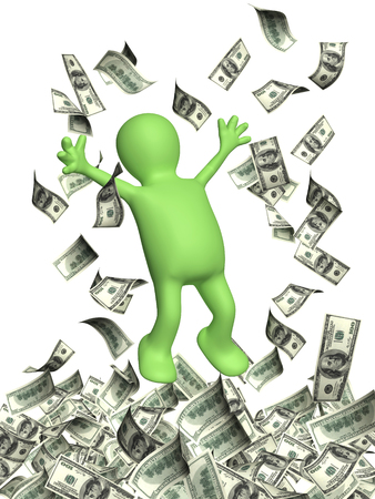 greenback: Happy 3d man leaping and a money rain with dollar banknotes. Isolated on white backgorund
