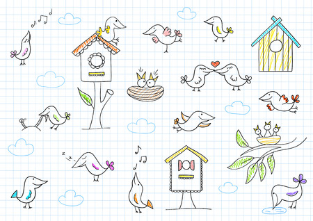 birdsong: Collection of cute birds. Vector sketch on notebook page