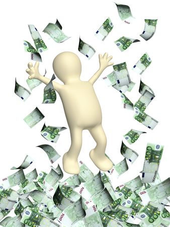 greenbacks: Happy 3d man leaping and a money rain with euro banknotes. Isolated on white backgorund