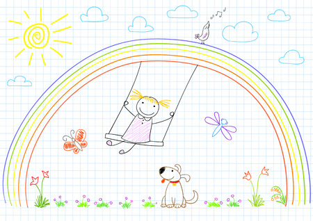sun flowers: Happy little girl on swing on rainbow. Vector sketch on notebook page