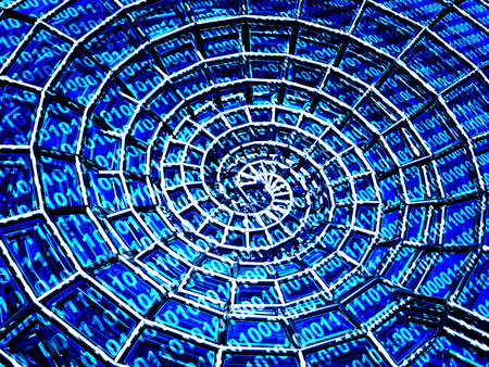 binaries: Abstract 3d spiral shell from a blue grid and binary code Stock Photo